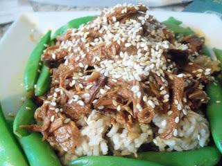 Crockpot Honey Sesame Chicken over Rice