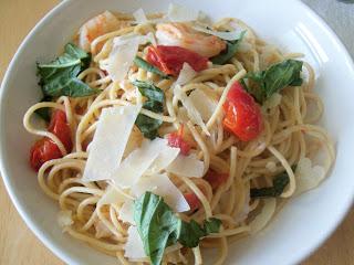 Caprese Pasta with Shrimp