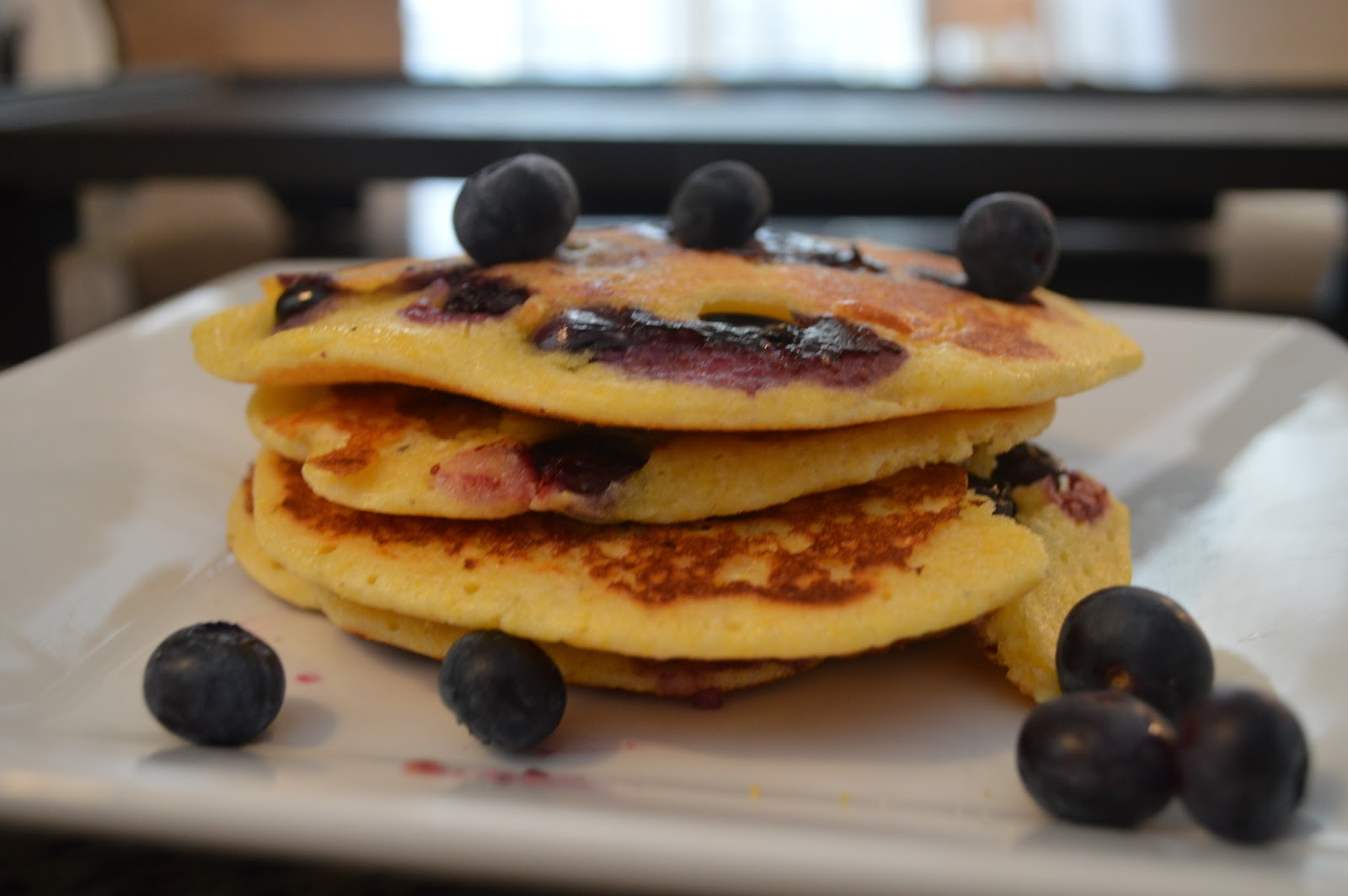 Blueberry Cornmeal Pancakes - Girl and Her Kitchen