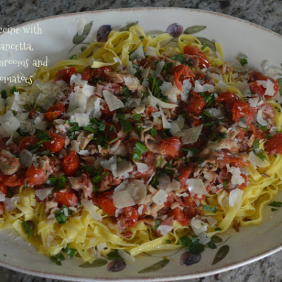 Fettuccine with Crispy Pancetta, Sauteed Mushrooms and Cherry Tomatoes {And A Giveaway!}