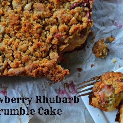 Strawberry Rhubarb Crumble Cake