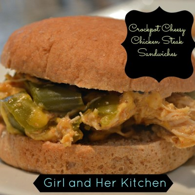 Crockpot Cheesy Chickensteak Sandwiches