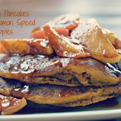 Pumpkin Pancakes with Cinnamon Spiced Apples