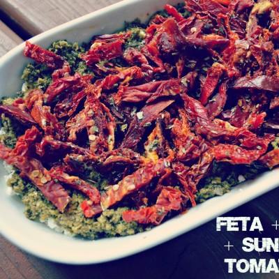 Goat or Feta Cheese + Pesto + Sun Dried Tomato Dip