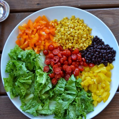 Tex-Mex Rainbow Salad with Creamy Avocado Dressing