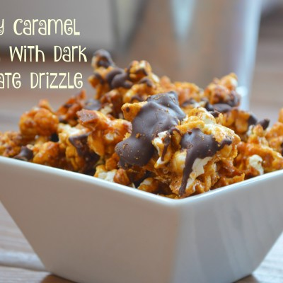Buttery Caramel Corn with Dark Chocolate Drizzle