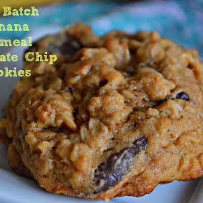 Soft Batch Banana Chocolate Chip Oatmeal Cookies
