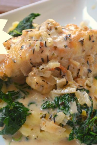 Chicken Florentine with Garlic Smashed Potatoes