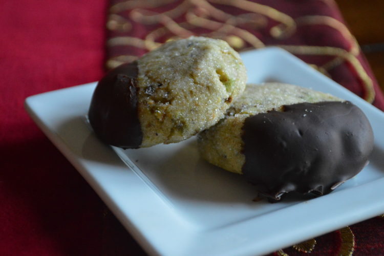 Holiday Baking! Pistachio Cookies Dipped in Dark Chocolate